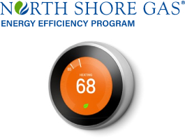 North Shore Gas Energy Efficiency logo and nest thermostat